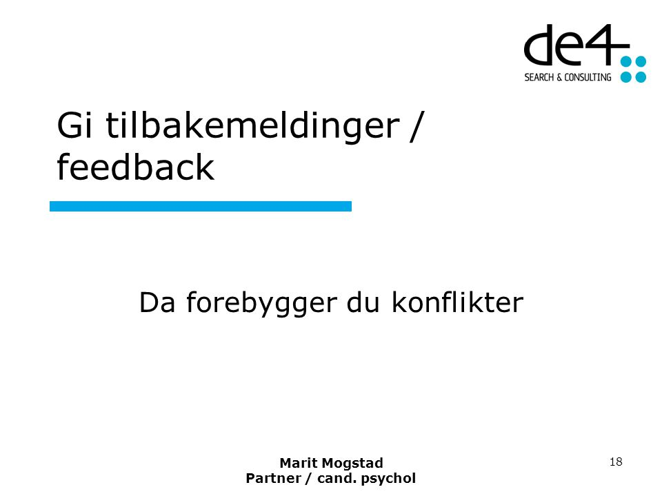 Gi tilbakemeldinger / feedback