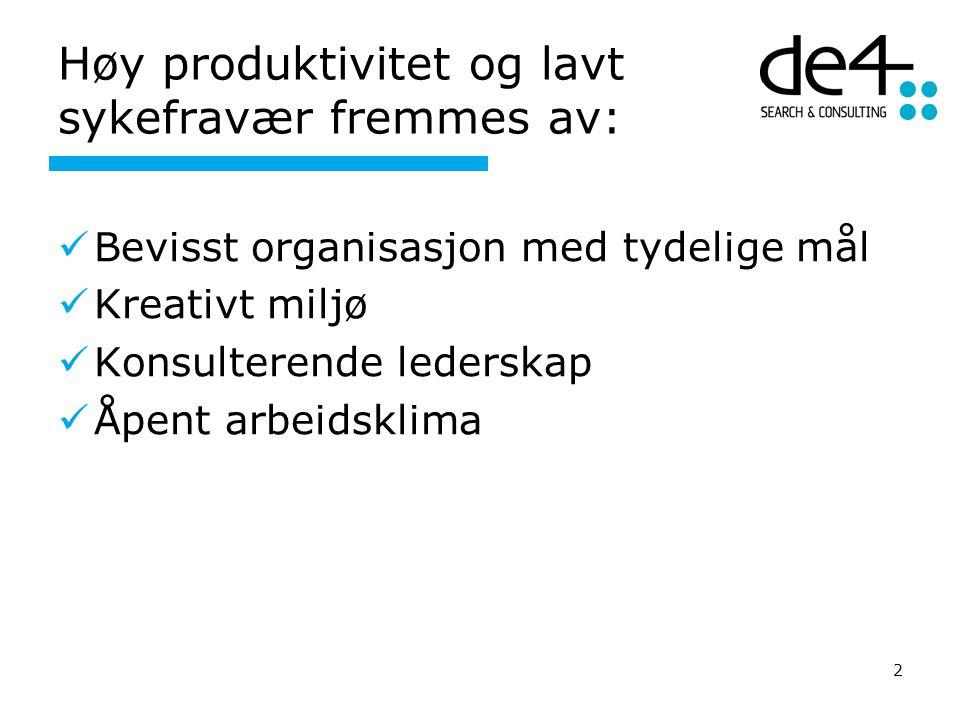 Høy produktivitet og lavt sykefravær fremmes av: