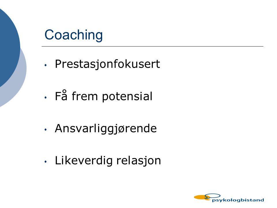 Coaching Prestasjonfokusert Få frem potensial Ansvarliggjørende
