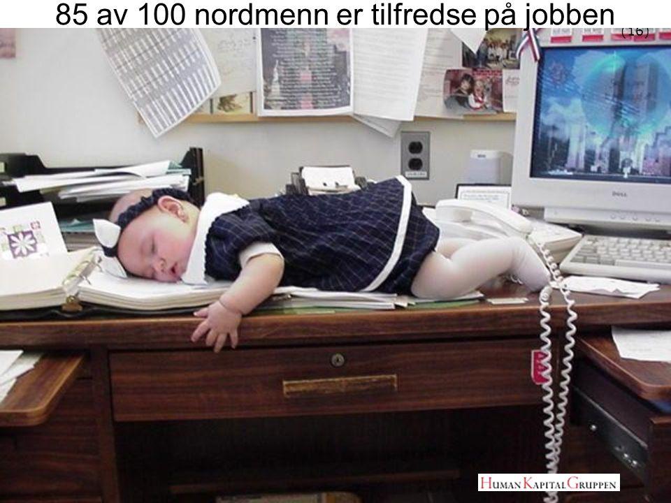 85 av 100 nordmenn er tilfredse på jobben