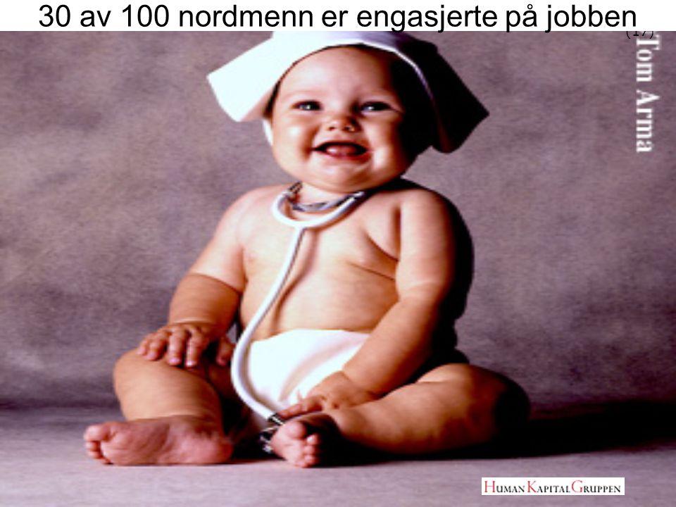 30 av 100 nordmenn er engasjerte på jobben