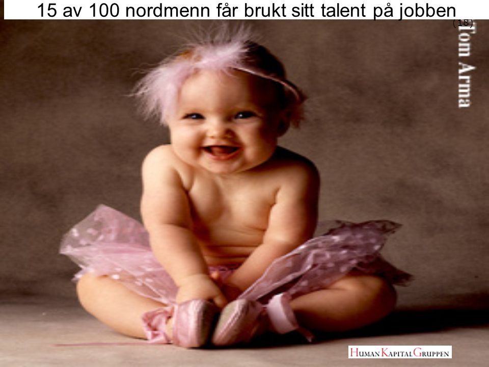 15 av 100 nordmenn får brukt sitt talent på jobben