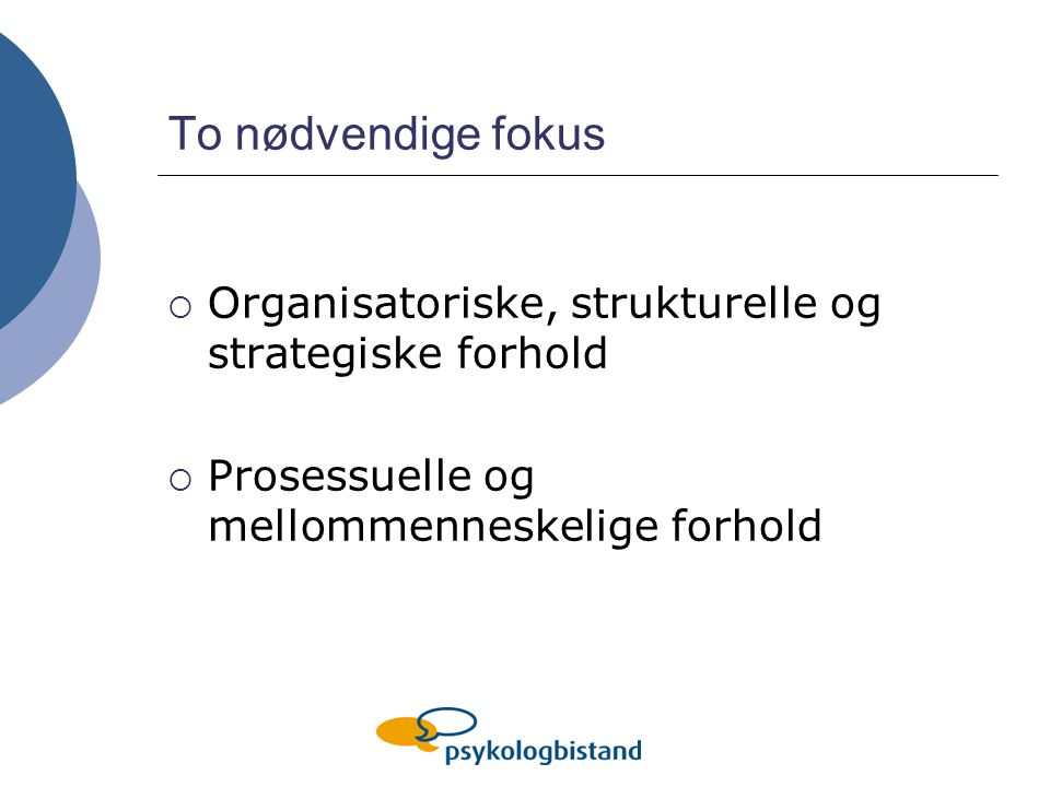 To nødvendige fokus Organisatoriske, strukturelle og strategiske forhold.