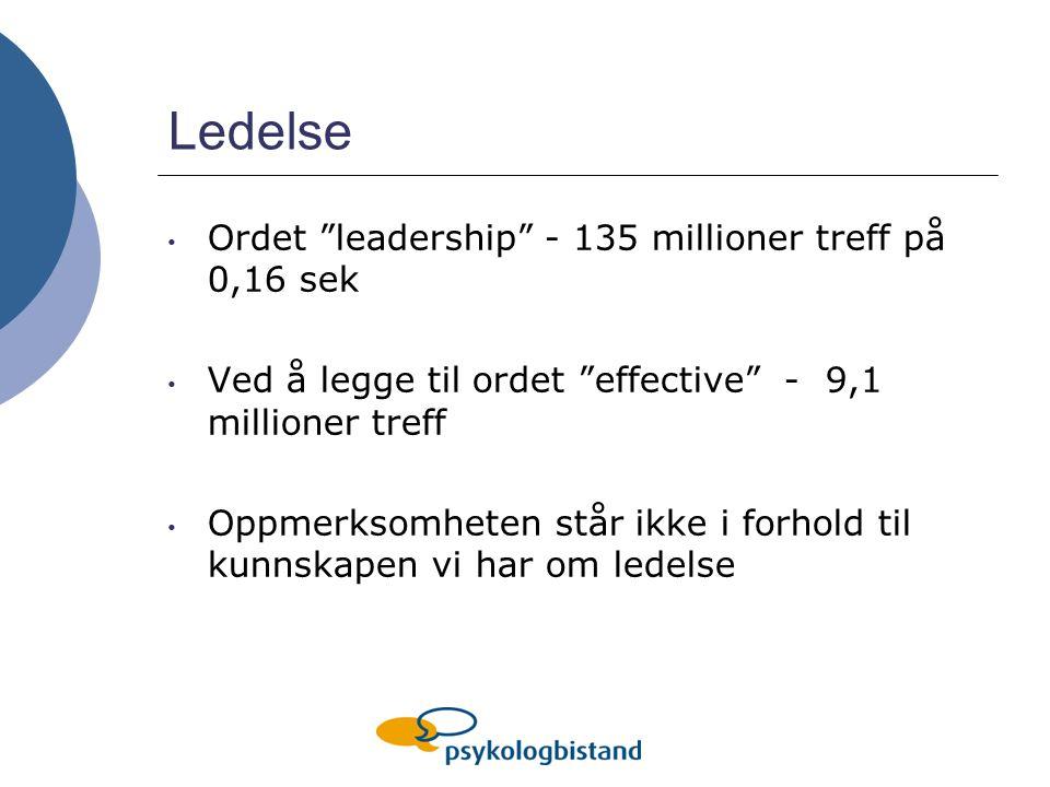 Ledelse Ordet leadership - 135 millioner treff på 0,16 sek