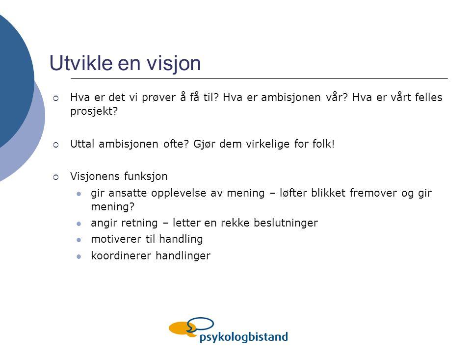 Utvikle en visjon Hva er det vi prøver å få til Hva er ambisjonen vår Hva er vårt felles prosjekt