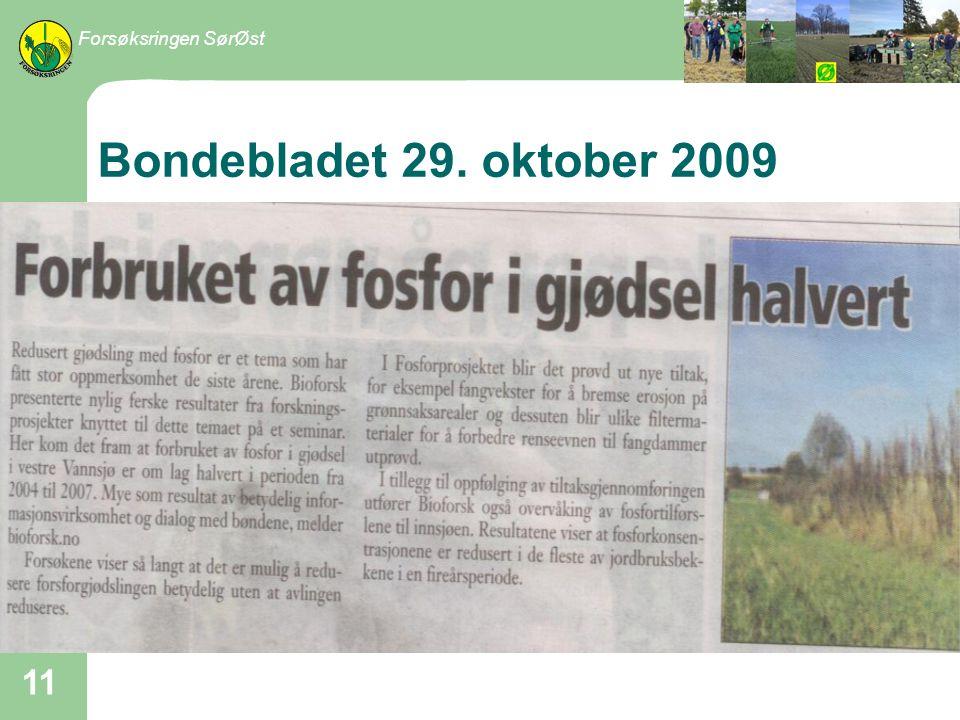 Forsøksringen SørØst Bondebladet 29. oktober 2009