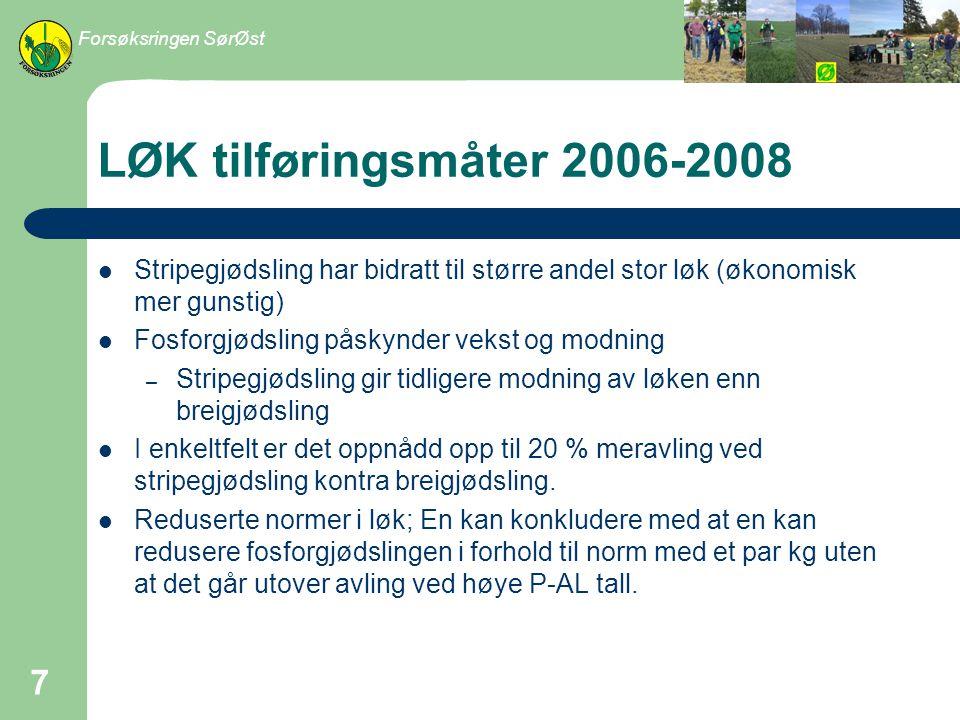 Forsøksringen SørØst LØK tilføringsmåter 2006-2008. Stripegjødsling har bidratt til større andel stor løk (økonomisk mer gunstig)