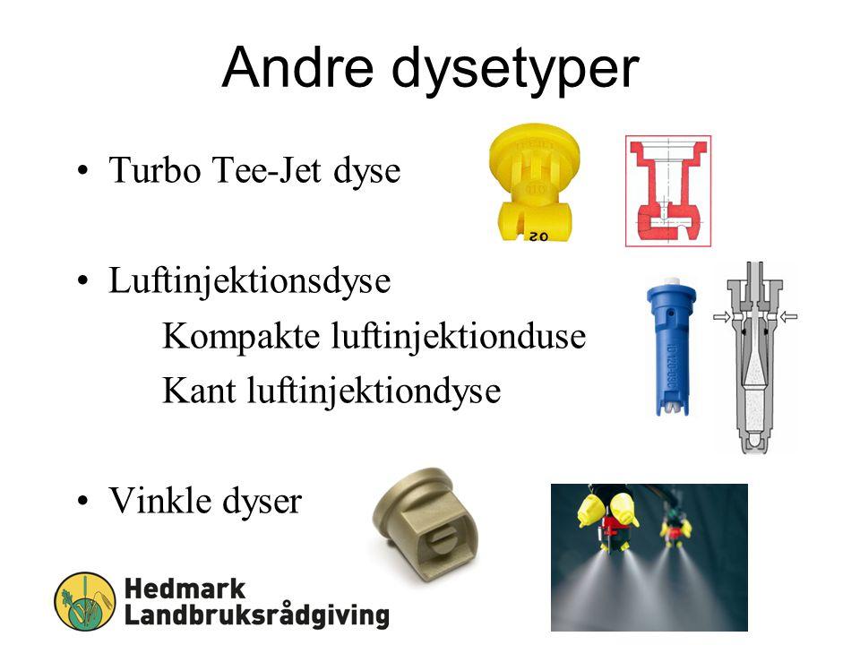 Andre dysetyper Sjekkliste ved sprøyting Turbo Tee-Jet dyse