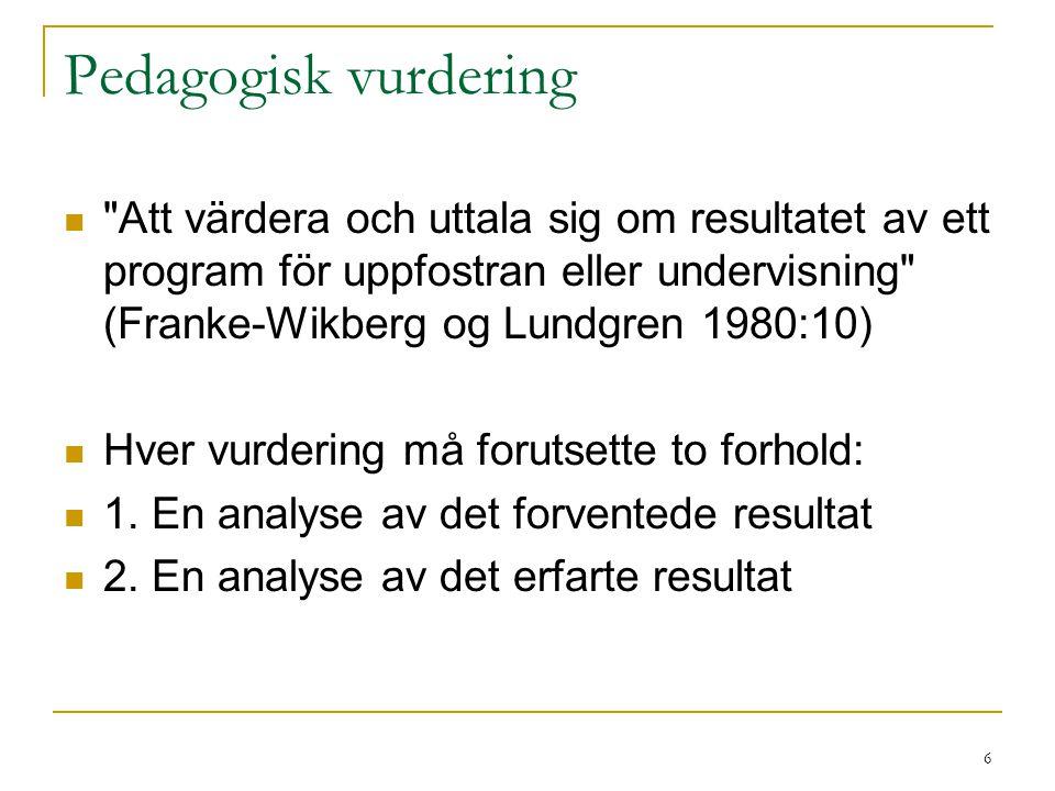 Pedagogisk vurdering Att värdera och uttala sig om resultatet av ett program för uppfostran eller undervisning (Franke-Wikberg og Lundgren 1980:10)