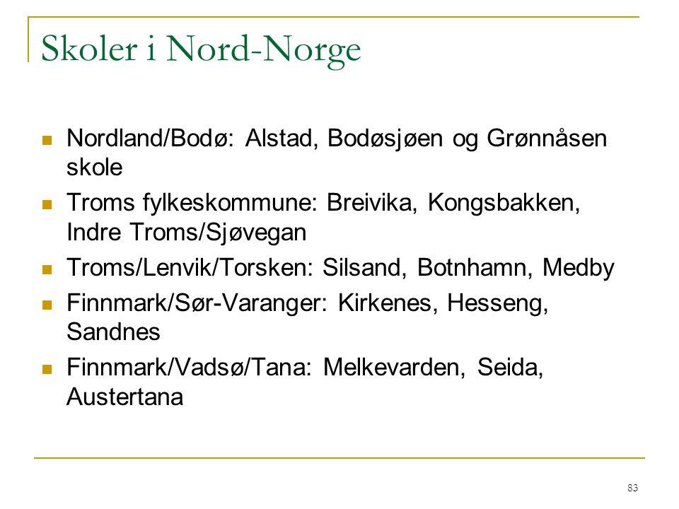 Skoler i Nord-Norge Nordland/Bodø: Alstad, Bodøsjøen og Grønnåsen skole. Troms fylkeskommune: Breivika, Kongsbakken, Indre Troms/Sjøvegan.