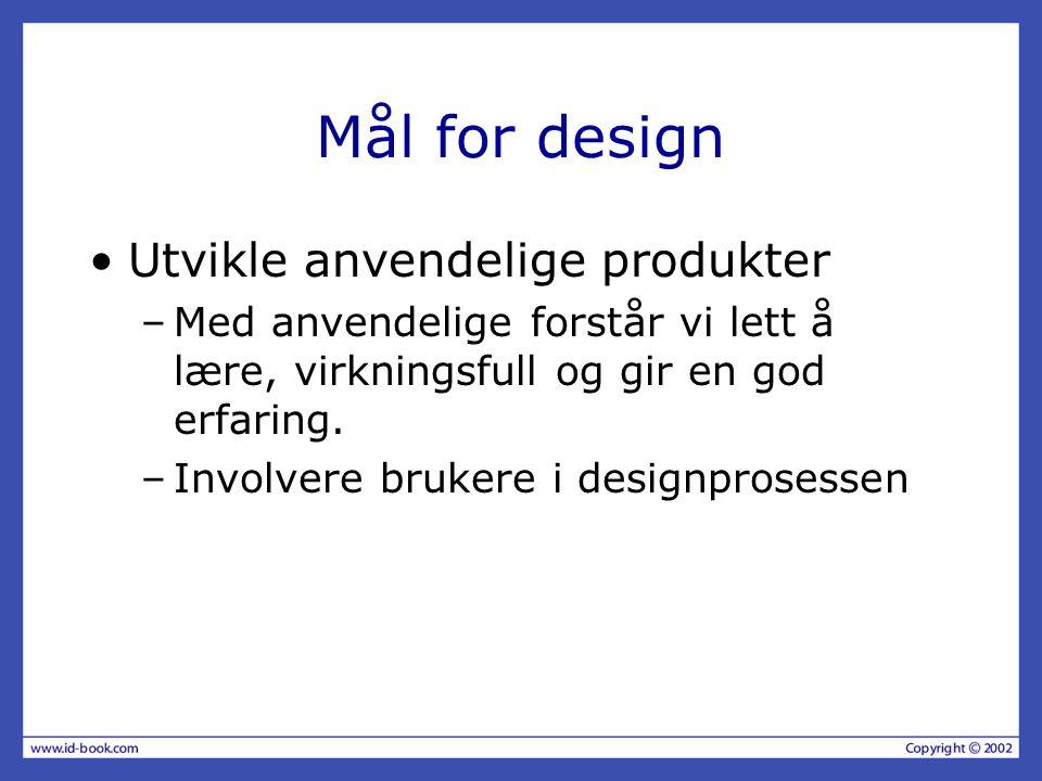 Mål for design Utvikle anvendelige produkter