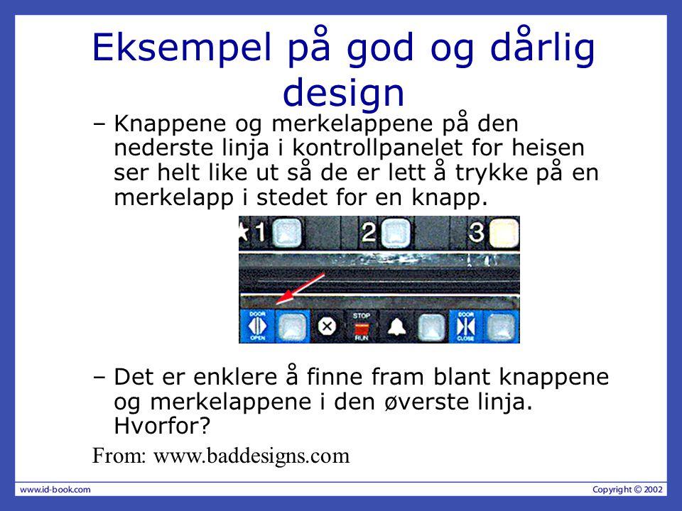 Eksempel på god og dårlig design