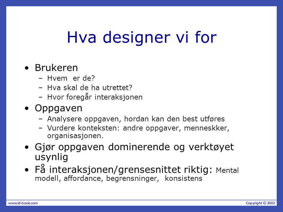 Hva designer vi for Brukeren Oppgaven