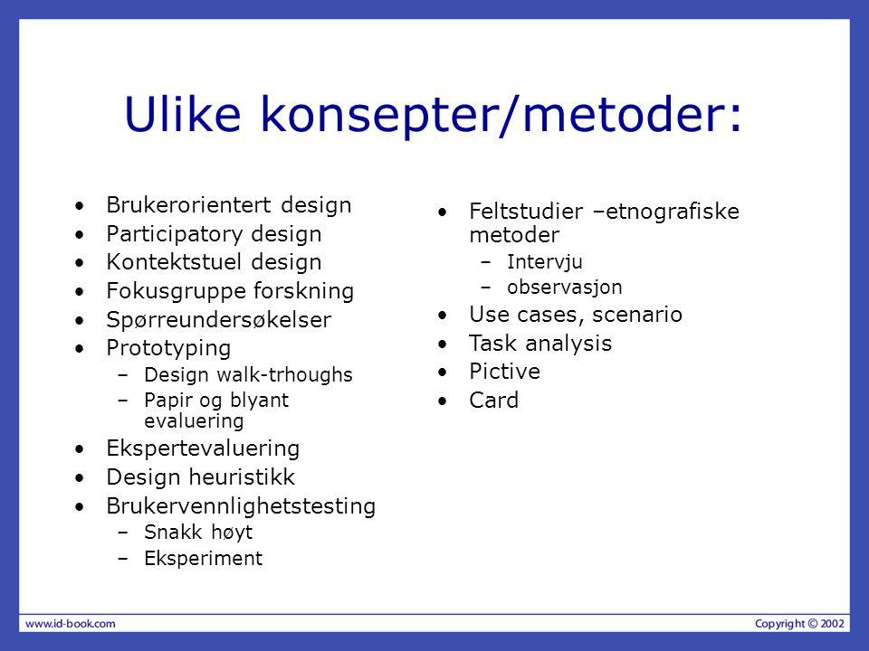 Ulike konsepter/metoder: