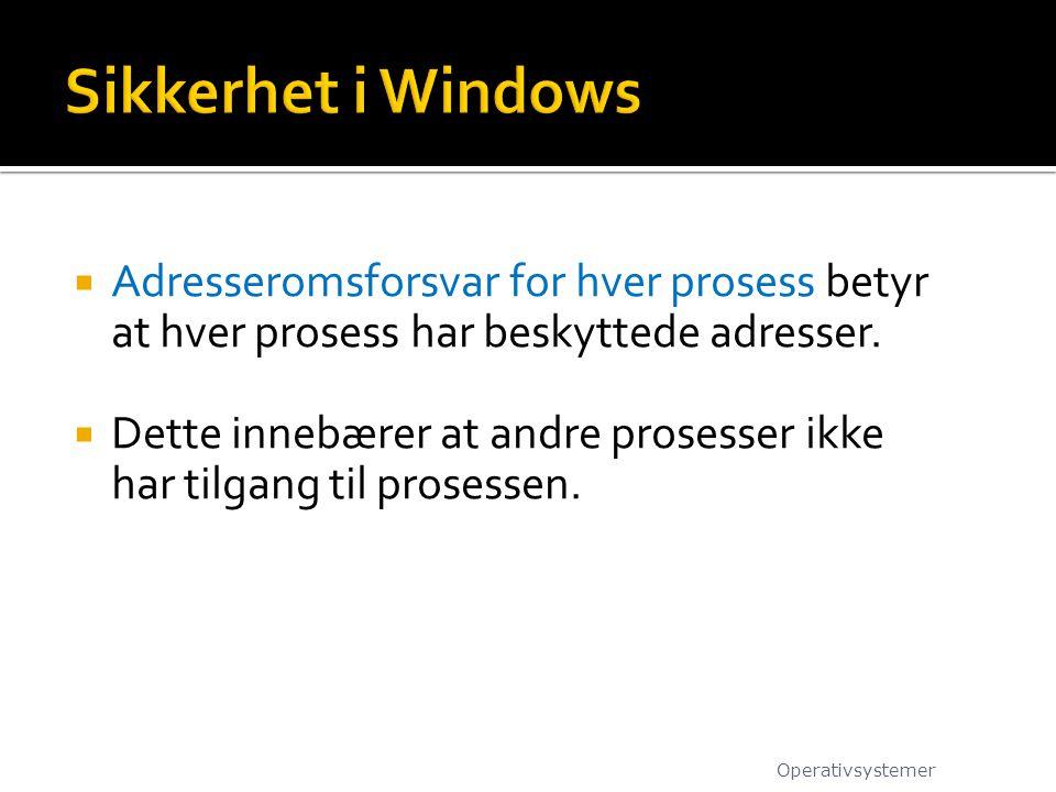 Sikkerhet i Windows Adresseromsforsvar for hver prosess betyr at hver prosess har beskyttede adresser.