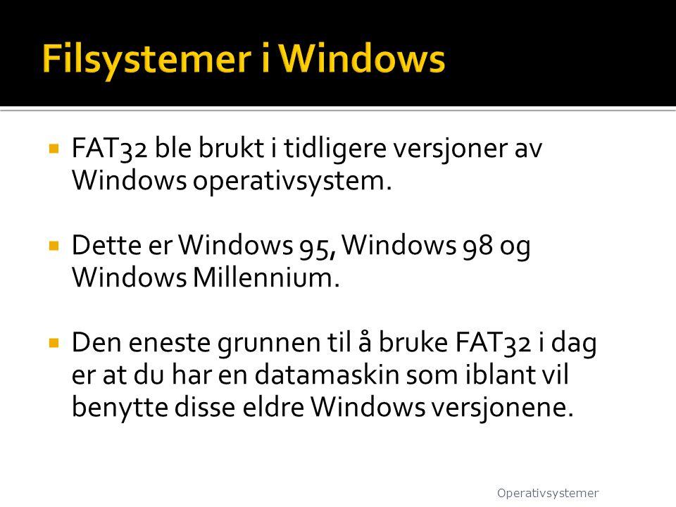 Filsystemer i Windows FAT32 ble brukt i tidligere versjoner av Windows operativsystem. Dette er Windows 95, Windows 98 og Windows Millennium.