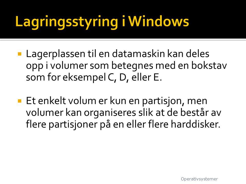 Lagringsstyring i Windows