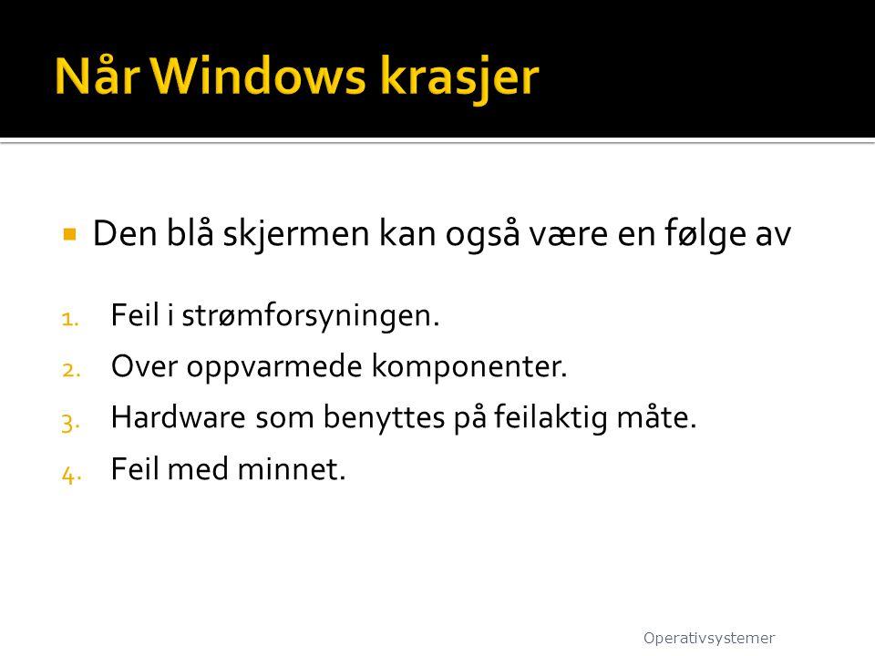 Når Windows krasjer Den blå skjermen kan også være en følge av