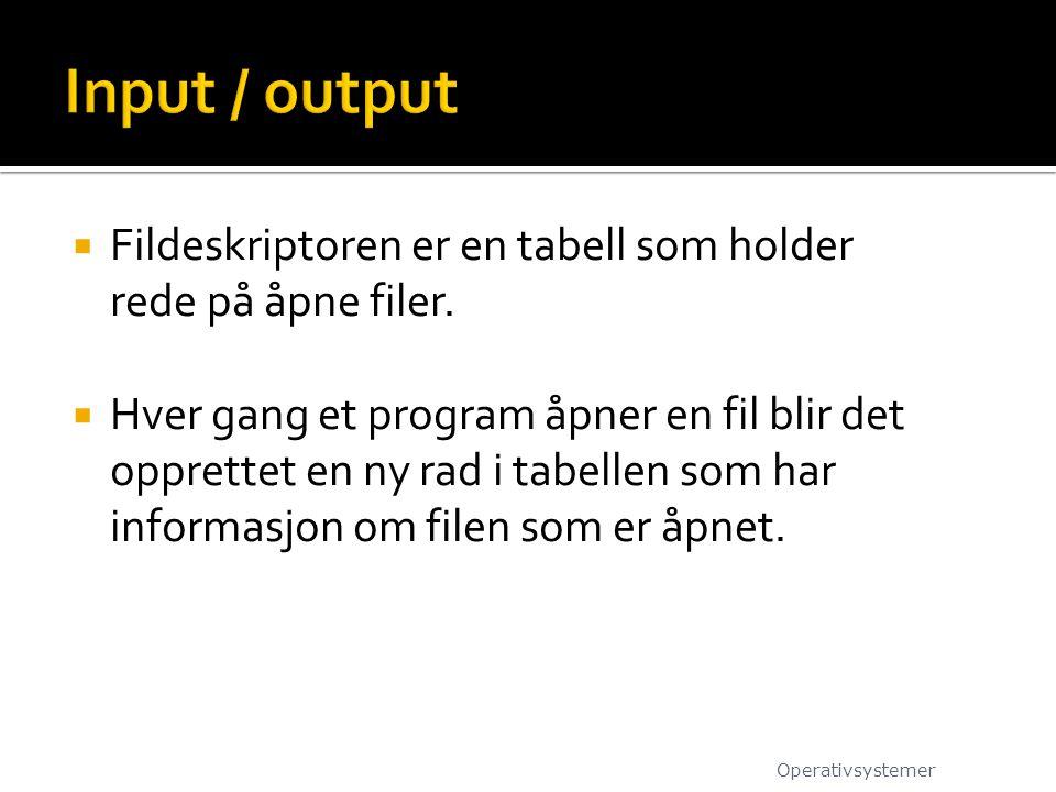 Input / output Fildeskriptoren er en tabell som holder rede på åpne filer.