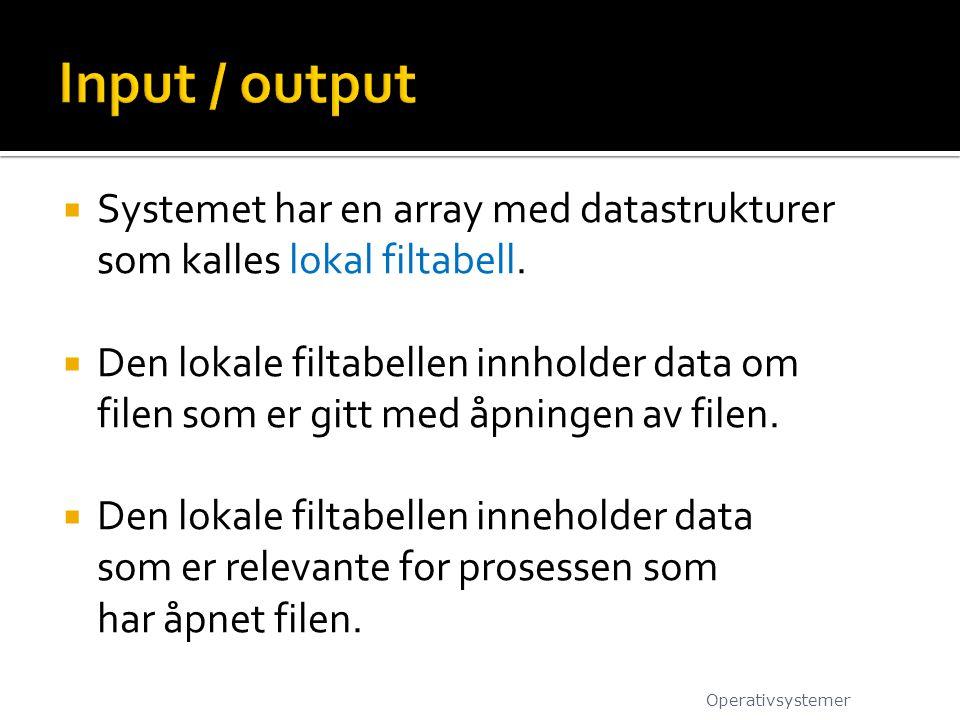 Input / output Systemet har en array med datastrukturer som kalles lokal filtabell.