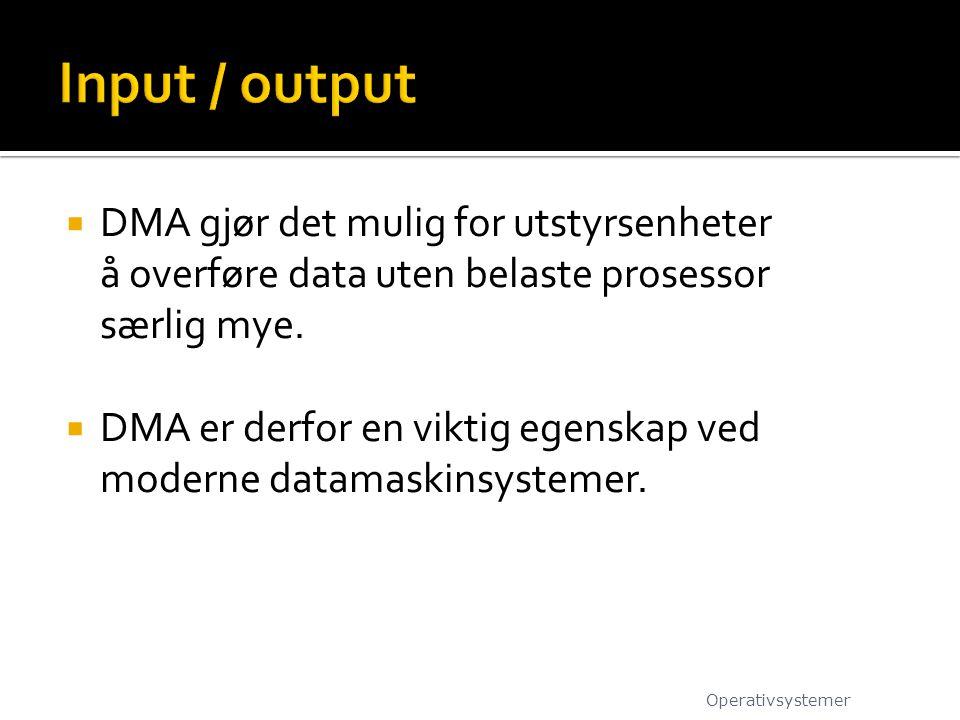 Input / output DMA gjør det mulig for utstyrsenheter å overføre data uten belaste prosessor særlig mye.