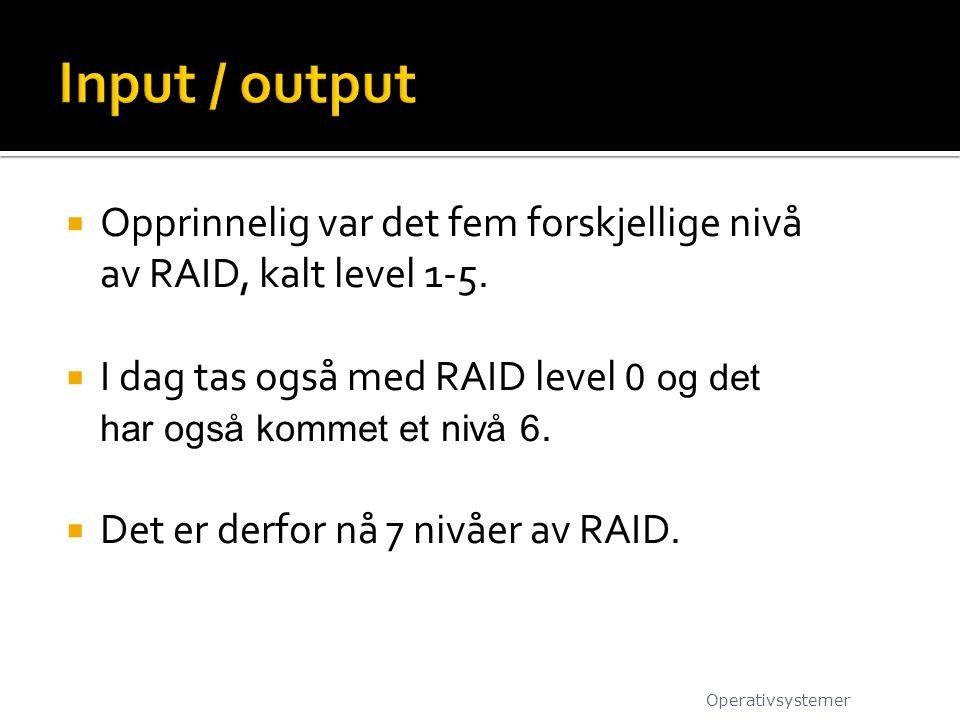 Input / output Opprinnelig var det fem forskjellige nivå av RAID, kalt level 1-5. I dag tas også med RAID level 0 og det har også kommet et nivå 6.