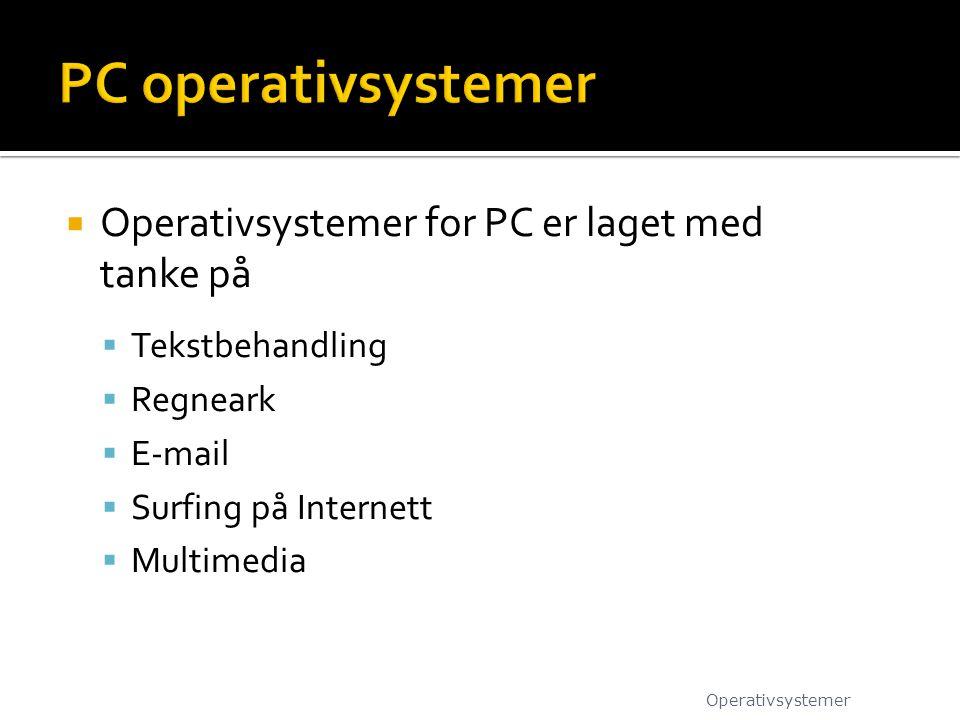 PC operativsystemer Operativsystemer for PC er laget med tanke på