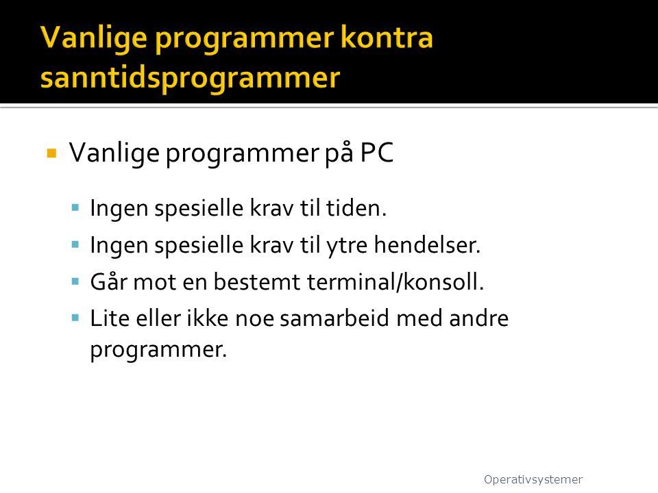 Vanlige programmer kontra sanntidsprogrammer