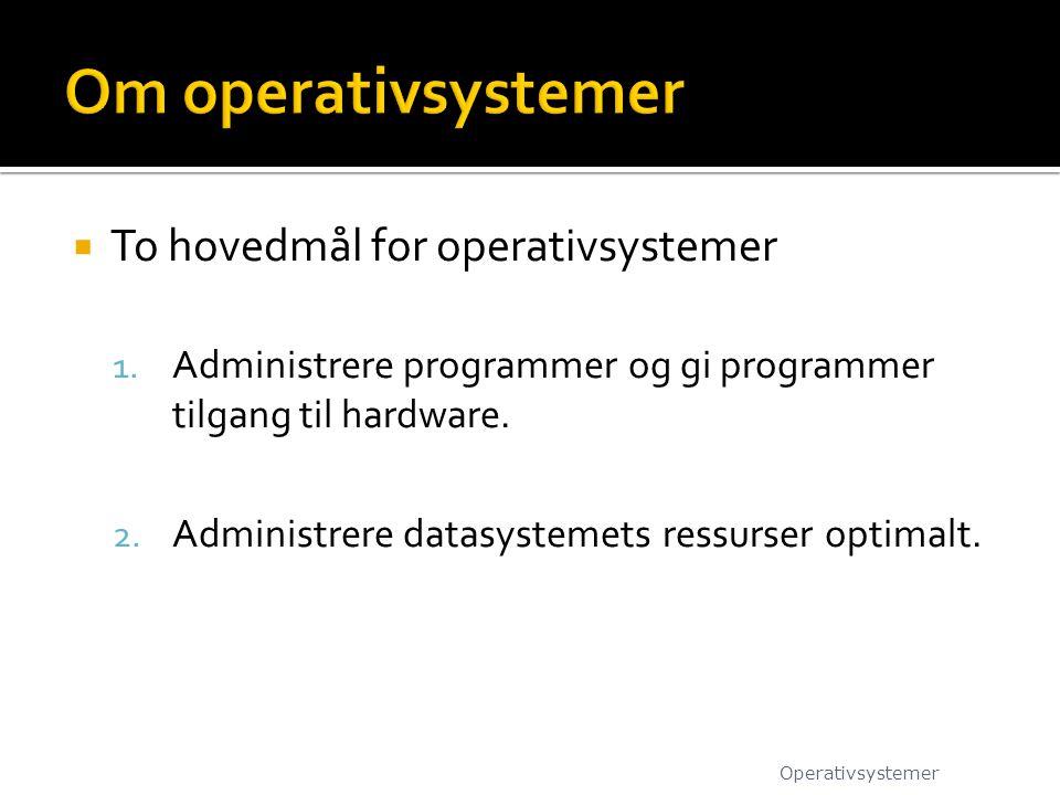 Om operativsystemer To hovedmål for operativsystemer