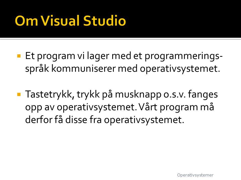 Om Visual Studio Et program vi lager med et programmerings-språk kommuniserer med operativsystemet.