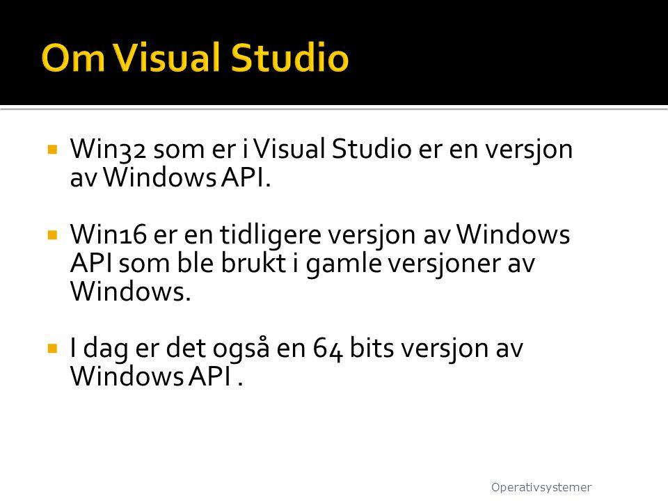 Om Visual Studio Win32 som er i Visual Studio er en versjon av Windows API.