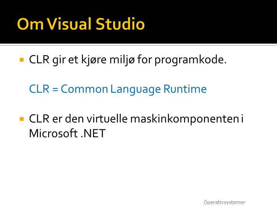 Om Visual Studio CLR gir et kjøre miljø for programkode.