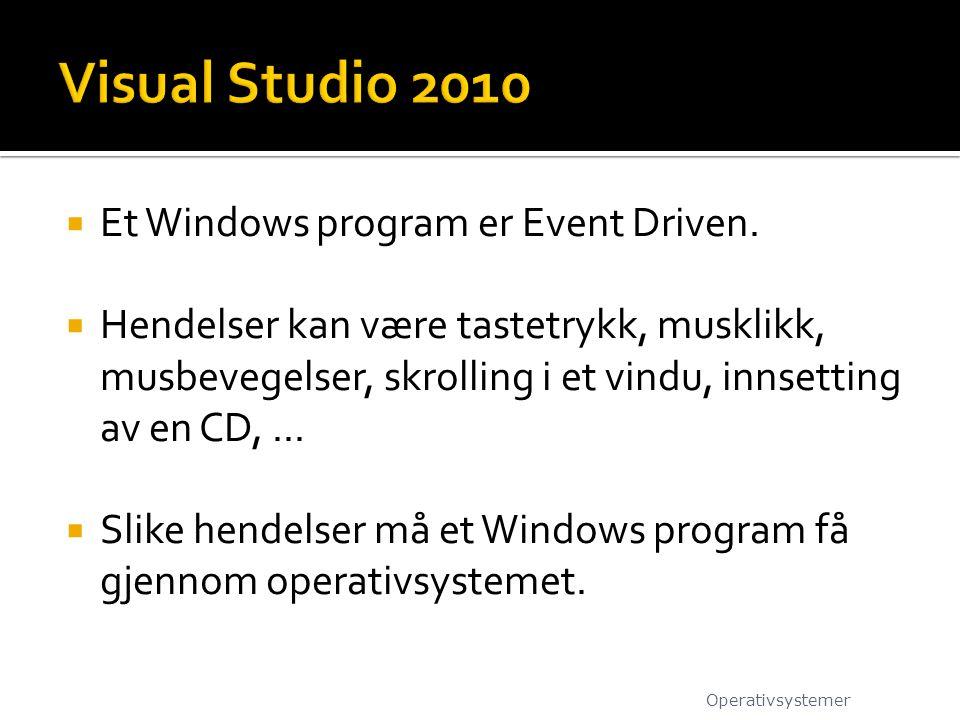 Visual Studio 2010 Et Windows program er Event Driven.