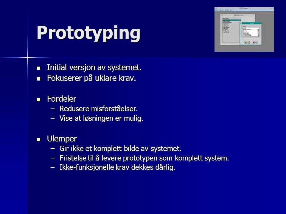 Prototyping Initial versjon av systemet. Fokuserer på uklare krav.