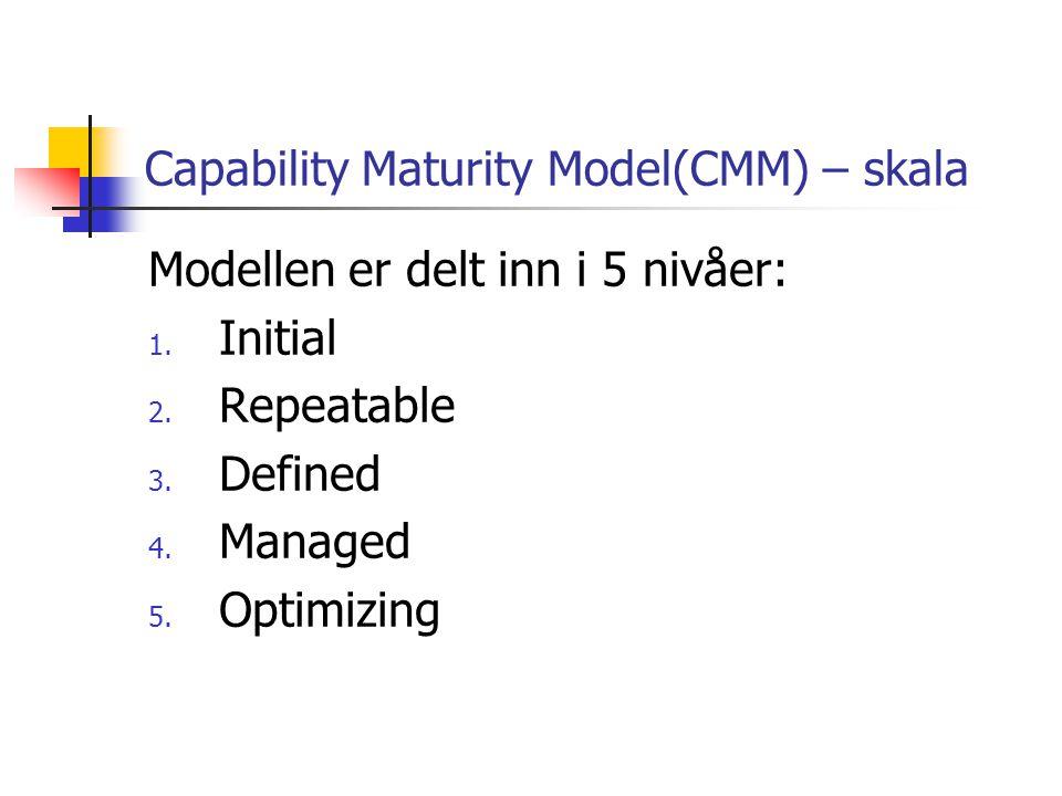 Capability Maturity Model(CMM) – skala