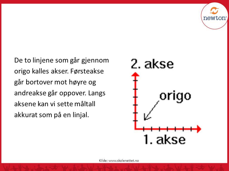 De to linjene som går gjennom origo kalles akser
