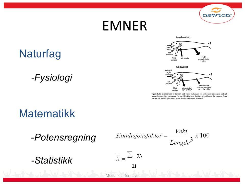EMNER Naturfag Matematikk -Fysiologi -Potensregning -Statistikk