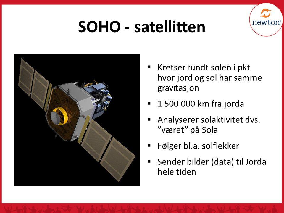 SOHO - satellitten Kretser rundt solen i pkt hvor jord og sol har samme gravitasjon. 1 500 000 km fra jorda.