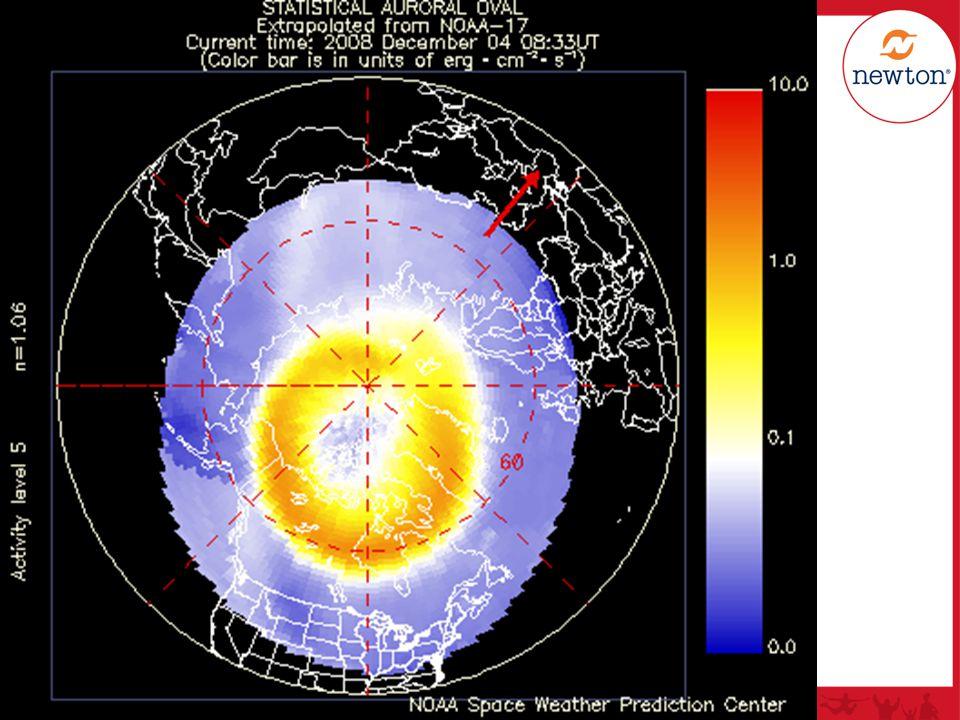 Forklaring: Nordpolen ligger i bildets midtpunkt