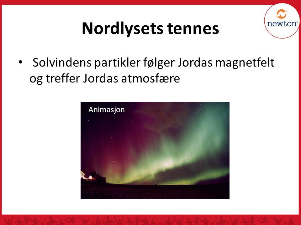 Nordlysets tennes Solvindens partikler følger Jordas magnetfelt og treffer Jordas atmosfære.