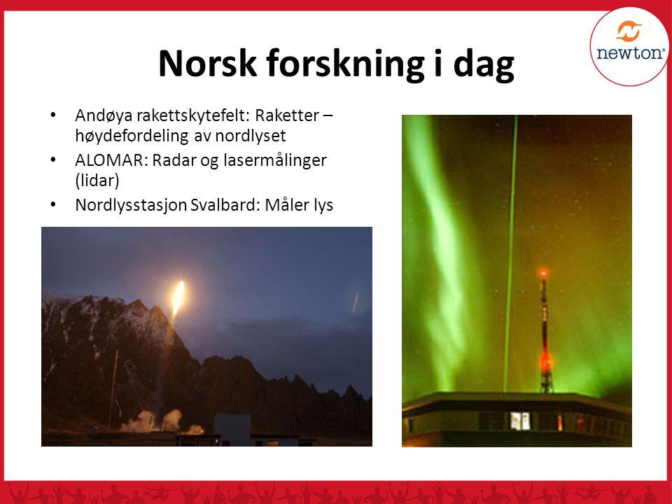 Norsk forskning i dag Andøya rakettskytefelt: Raketter – høydefordeling av nordlyset. ALOMAR: Radar og lasermålinger (lidar)