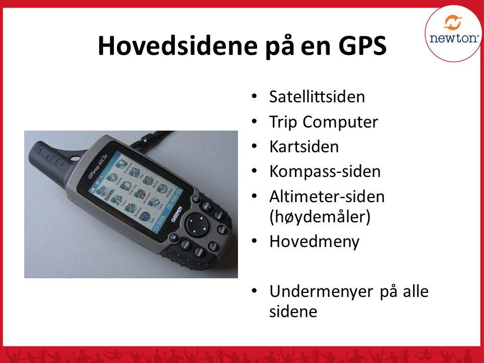 Hovedsidene på en GPS Satellittsiden Trip Computer Kartsiden
