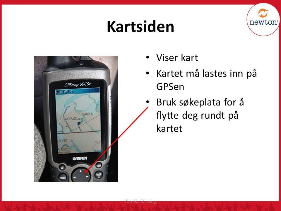 Kartsiden Viser kart Kartet må lastes inn på GPSen