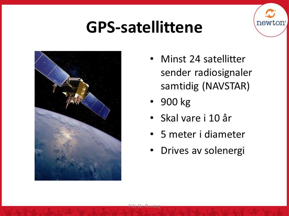 GPS-satellittene Minst 24 satellitter sender radiosignaler samtidig (NAVSTAR) 900 kg. Skal vare i 10 år.