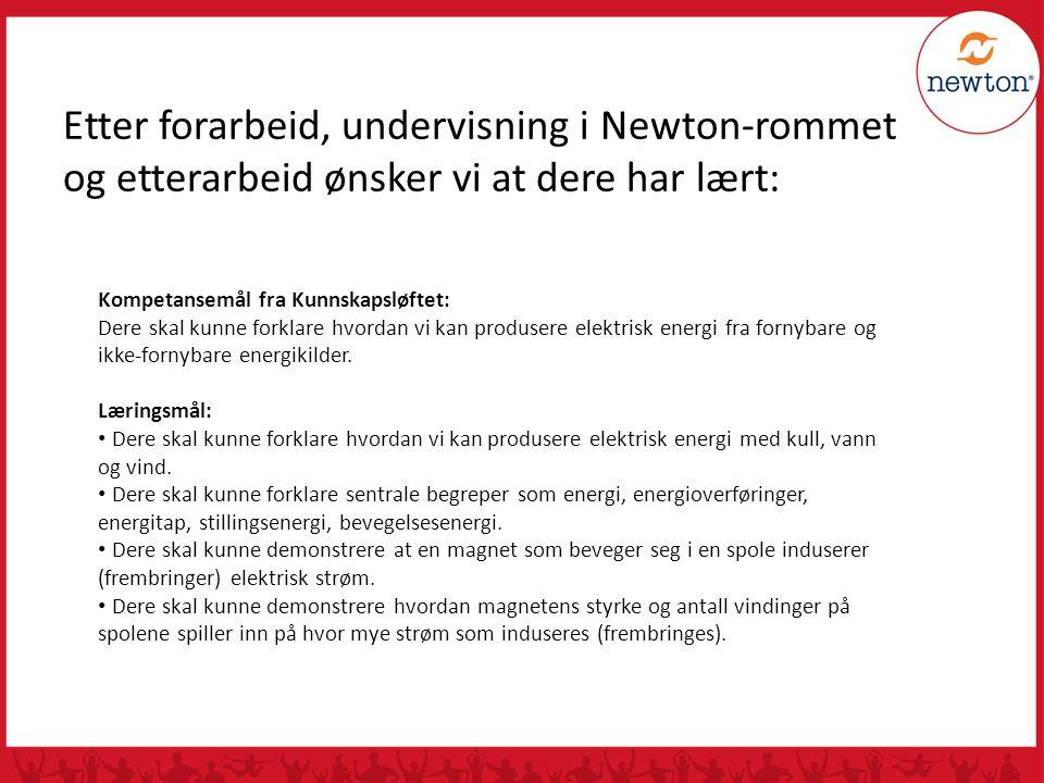 Etter forarbeid, undervisning i Newton-rommet og etterarbeid ønsker vi at dere har lært: