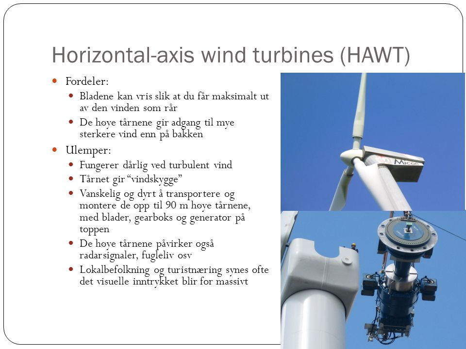 Horizontal-axis wind turbines (HAWT)