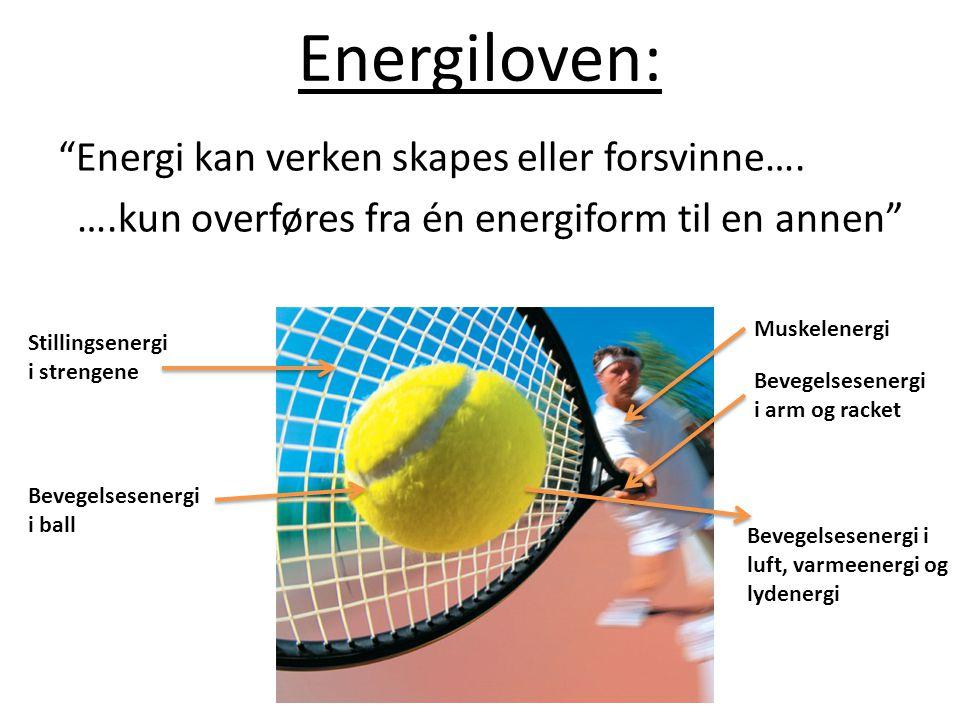 Energiloven: Energi kan verken skapes eller forsvinne…. ….kun overføres fra én energiform til en annen