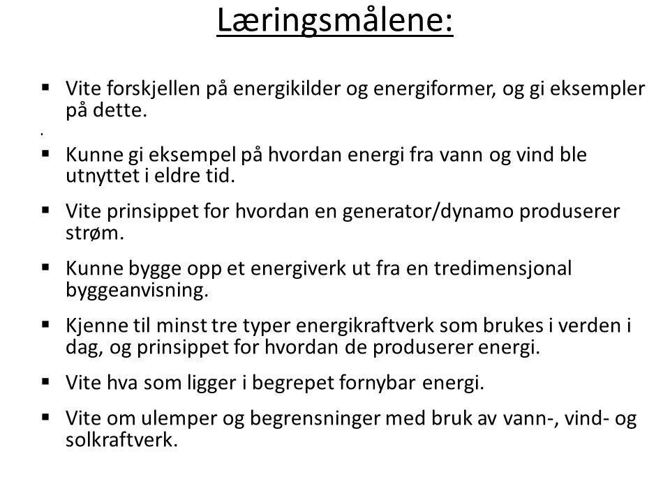Læringsmålene: Vite forskjellen på energikilder og energiformer, og gi eksempler på dette.