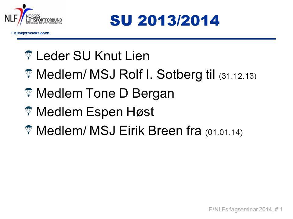 SU 2013/2014 Leder SU Knut Lien. Medlem/ MSJ Rolf I. Sotberg til (31.12.13) Medlem Tone D Bergan.