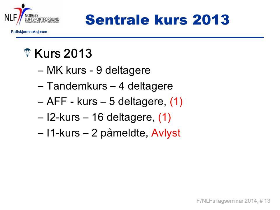 Sentrale kurs 2013 Kurs 2013 MK kurs - 9 deltagere